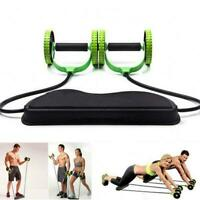 Double Wheels Ab Roller Pull Rope Waist Abdominal Slimming Equipment Sport R9N2