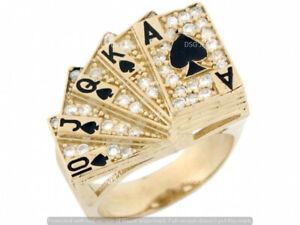 1CT Diamond Men's Royal Flush Poker Enamel Fashion Pinky Ring 10k Yellow Gold GP