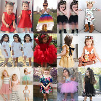 0-7Y Baby Kids Girls Dress Toddler Princess Party Pageant Tutu Lace Floral Dress