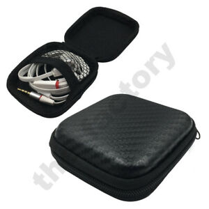 Carbon Fibre Look Portable Case Box Headset Earphone Zip Storage Pouch Case Bag