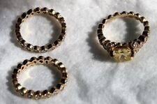 Erica Courtney Diamonique Molly Ring Set Sterling or 14K Gold Clad Size 6