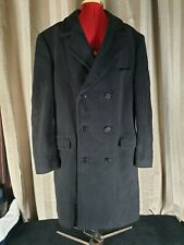 A39 - Savile Row Wool / Cashmere Mens Black Double  Breasted Overcoat Size XL