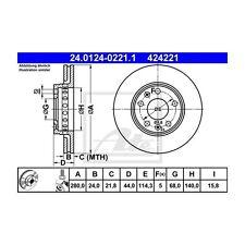 2 St. ATE 24.0124-0221.1 Bremsscheibe   für Renault Megane III Coupe Fluence