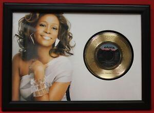 Whitney Houston 2 Poster Art Wood Framed 45 Gold Record Display C3