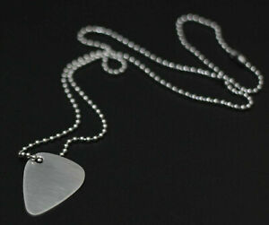 MINIMALIST BRUSHED MATTE STAINLESS STEEL METAL GUITAR PICK PENDANT & NECKLACE
