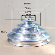"""OD147mm 4 Step Pulley 28mm Bore for 1/2""""=12.7mm Belt width - Cast Aluminum"""