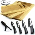 3pc Organic Bamboo Cutting Board Premium Wood Drip Groove + Ceramic Knife Set