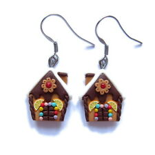 Polymer Clay Chocolate Gingerbread Man House Christmas Earrings Handmade Gifts