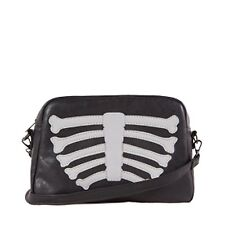 Iron Fist Wishbone Clutch HandBag Purse Skeleton Ribcage Black White Women punk