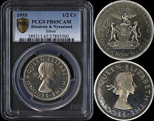 RHODESIA & NYASALAND HALF CROWN 1955 PROOF (PCGS PR65CAM) *ONLY 2,000 MINTED*