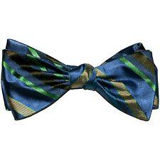 """Bow Tie Men. 100% Silk. SLATE BLUE, YELLOW Stripes SELF TIE Bowtie. 2.5"""" Wide"""