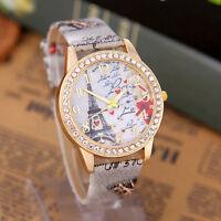 2017 Women Eiffel Tower Crystal Leather Band Crystal Dial Quartz Wrist Watch New