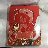 "Mikasa Holiday Bear Glass Platter 11.5"" WY166/312 With Box Japan ~"