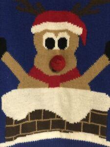 Next Boys Festive Jumper Royal Blue  Fun Santa Reindeer Motif Age 9/10 Ch