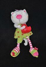 Peluche doudou chat CARREBLANC CARRE BLANC vert sac rouge coeur 22 cm TTBE