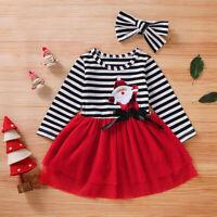 Newborn Baby Girl TulleTutu Dress+Headband Outfits Christmas Santa Striped Print