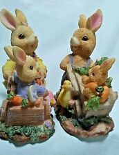 Rabbit Family Gardening Figurines-2- Wheelbarrows Carrots Flowers Mushrooms Duck