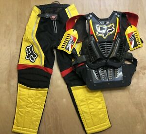 Vintage Fox Racing Motocross Chest Protector And Pants Size 30 X 27