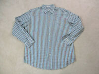 Peter Millar Button Up Shirt Adult Extra Large Blue Black Plaid Casual Mens