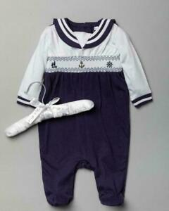 Baby Boys Cotton Smocked Babygrow Outfit  Padded Hanger Set 6-12 months BNWT