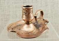 Benedict Manufacturing Co Copper/Brass Chamberstick Candle Holder w/Finger Loop