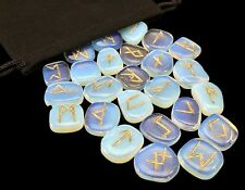 Opalite Elder Futhark Rune Set Hand Carved Gemstone Runic