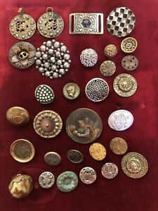 Lot Of 30 Antique Vintage Metal Brass Cut Steel Buttons Victorian