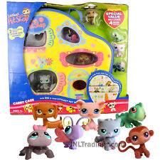Yr 2007 LPS Carry Case w/ Iguana, Cat, Pig, Butterfly, Dacshund, Spider & Monkey