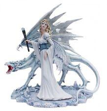 Große Eisfee Calista mit Eisdrachen Fee Fairy Elfe Figur Skulptur
