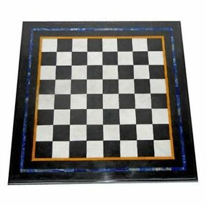 "18"" Black Marble Chess Table Handmade Work Home Furniture"