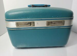 """Vintage Makeup Train Case American Tourister  Escort Blue Carry On Luggage 15"""""""