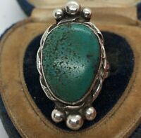 Vintage Sterling Silver Ring 925 Size 7.5 Native American Turquoise