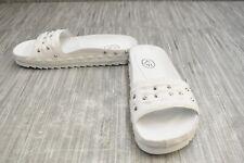 ASH Unique Studded Leather Slide Sandals, Women's Size 7M, White NEW