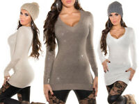 Maglione donna lungo strass borchiette sweater maglia maxipull borchie NUOVO