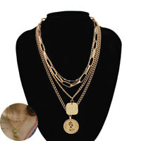 Multilayer Clavicle Jewelry Women Pendant Plated Necklace Chain Choker Gold