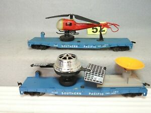 SET OF TWO LIONEL HO SCALE SOUTHERN PACIFIC LAUNCHING FLATCARS READY TO RUN