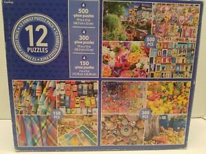 Cardinal 11 Pack Family Jigsaw Puzzles Various Scenes Food, Toys, Flowers, Color