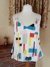 LADIES IVORY RED BLUE CRINKLE SWING TOP  HOLIDAY FROM NEXT SIZE 18