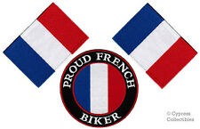 LOT of 3 - PROUD FRENCH BIKER IRON-ON PATCH FRANCE FLAG EMBROIDERED IRON-ON