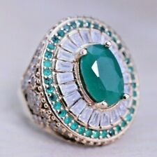 925 Sterling Silver Handmade Authentic Turkish Emerald Ladies Ring Size 6-12