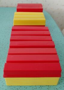 12 Vintage Slide Holders Red Yellow Plastic? Bakelite?