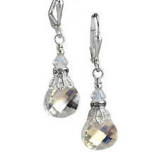 Clear Briolette Crystal Rhinestone Vintage Earrings with Crystal from Swarovski