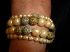 "#416 vtg costume bracelet  Di Mario 4 strands Faux Baroque pearls & Turquoise 7"""
