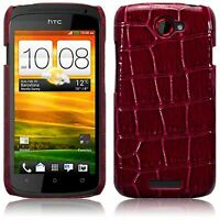 For HTC One S Red Croc Skin PU Leather Hard Back Case Cover