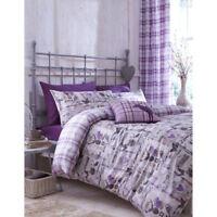 Catherine Lansfield Stag Deer Collectables Vintage Quilt Duvet Cover Set Purple