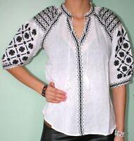 Women's Embroidered Romanian Peasant Style Blouse Boho Hippie Folk White Top