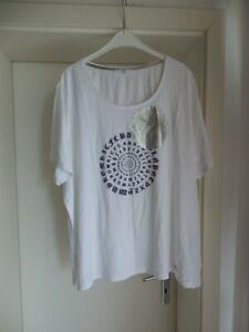 EMILIA LAY - schönes Shirt, weiß, Schrift, Aufdruck silber, Kurzarm, Gr. 56