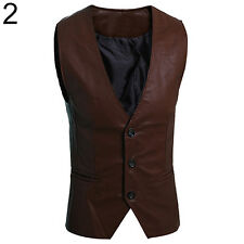 MEN'S SIMPLE SLIM FIT FAUX LEATHER VEST WAISTCOAT JACKET COAT OUTSTANDING