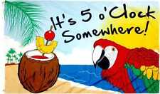 3x5 It's 5 o'Clock Somewhere, 3'x5' Parrot Nylon Poly FLAG Banner Grommets