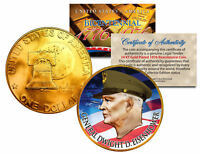 GENERAL DWIGHT D EISENHOWER Colorized 1976 IKE Dollar U.S. Coin 24K Gold Plated
